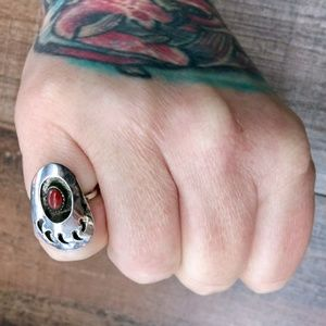 Vintage Jewelry - 4.5 • Vintage 40s NA Bear Coral 925 Silver Ring